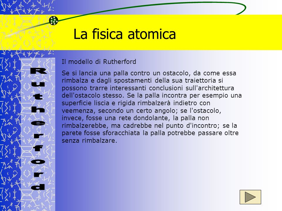 La fisica atomica Il modello di Rutherford Se si lancia una palla contro un ostacolo, da come essa rimbalza e dagli spostamenti della sua traiettoria