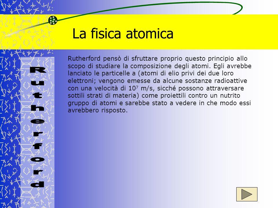 La fisica atomica Rutherford pensò di sfruttare proprio questo principio allo scopo di studiare la composizione degli atomi. Egli avrebbe lanciato le