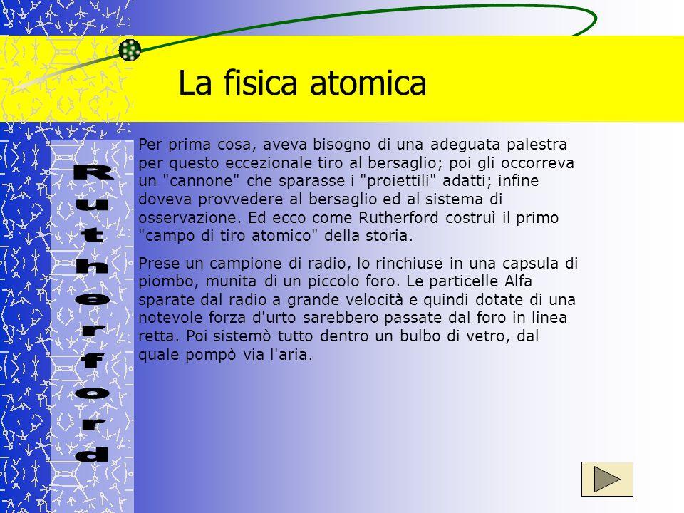 La fisica atomica Per prima cosa, aveva bisogno di una adeguata palestra per questo eccezionale tiro al bersaglio; poi gli occorreva un