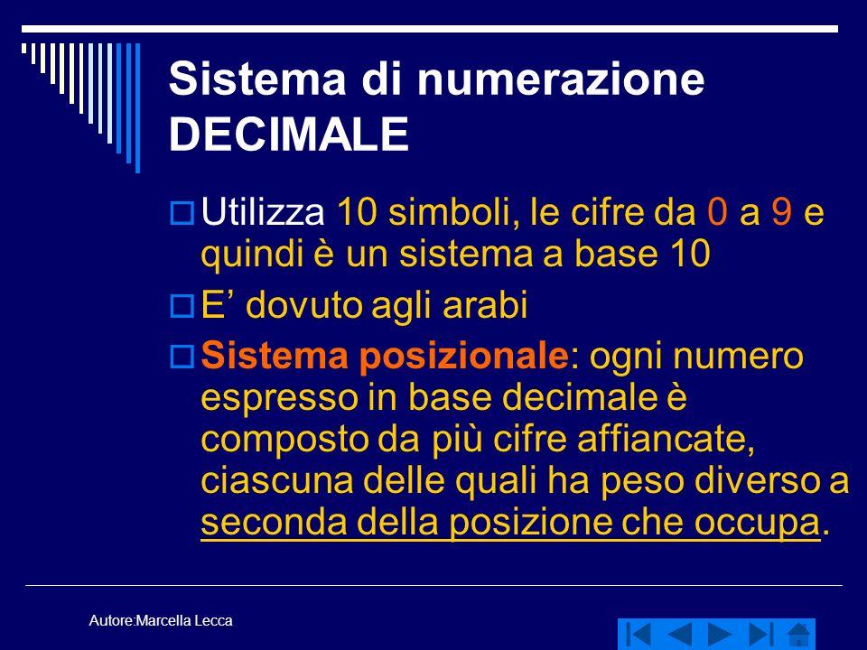 Autore:Marcella Lecca Sistema di numerazione DECIMALE Utilizza 10 simboli, le cifre da 0 a 9 e quindi è un sistema a base 10 E dovuto agli arabi Siste
