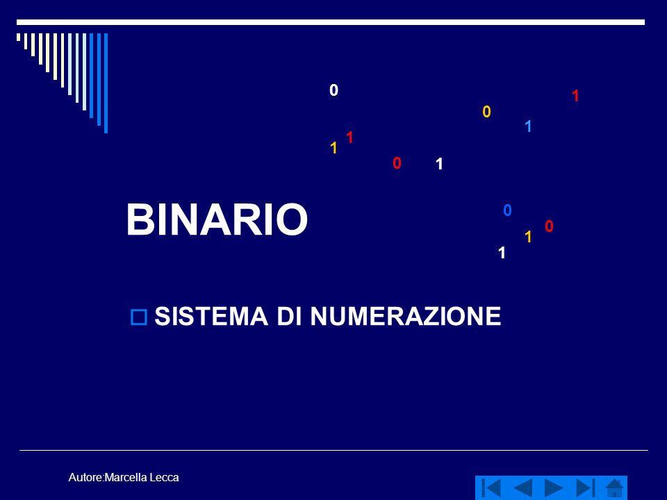 Autore:Marcella Lecca BINARIO SISTEMA DI NUMERAZIONE 0 0 0 0 0 1 1 1 1 1 1 1