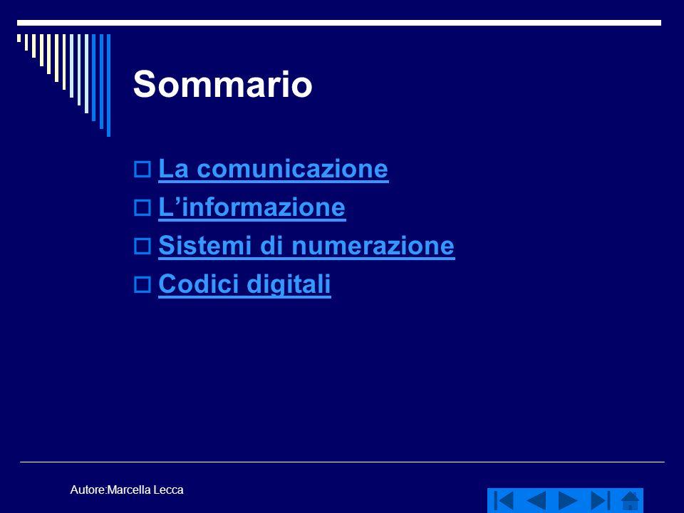 Autore:Marcella Lecca Sommario La comunicazione Linformazione Sistemi di numerazione Codici digitali