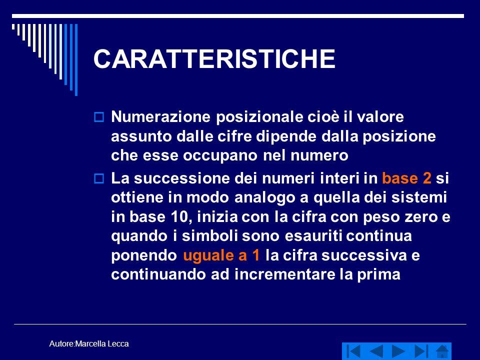 Autore:Marcella Lecca CARATTERISTICHE Numerazione posizionale cioè il valore assunto dalle cifre dipende dalla posizione che esse occupano nel numero