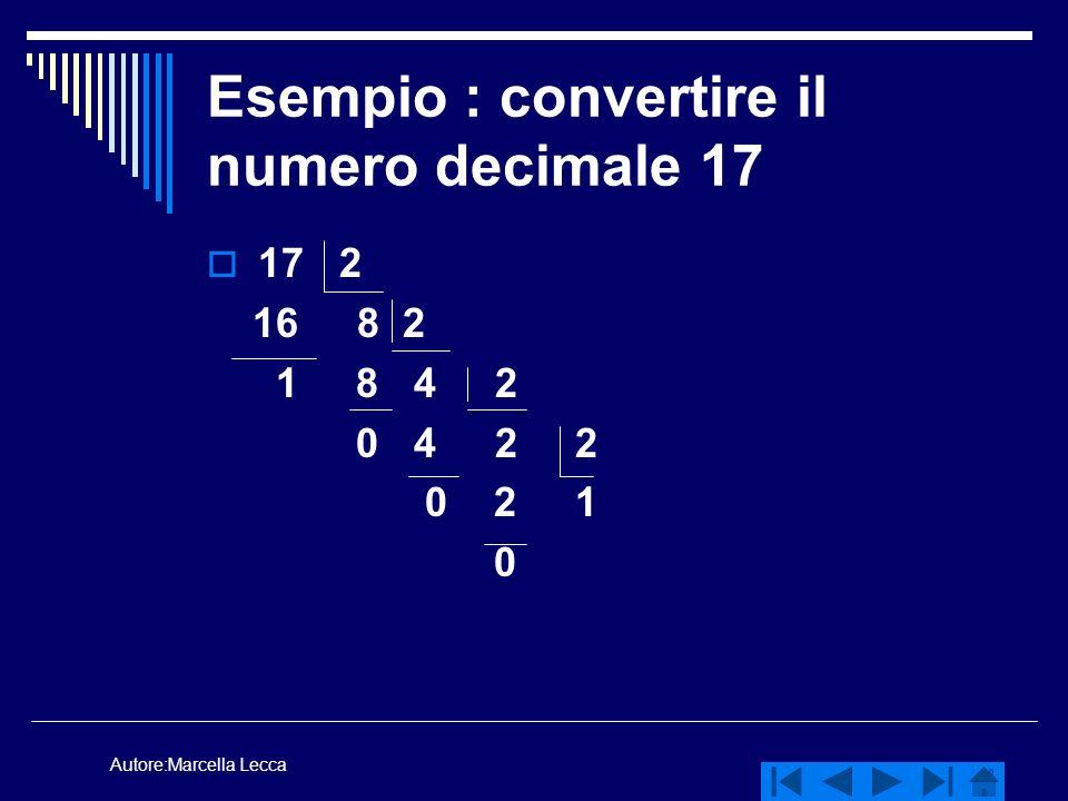 Autore:Marcella Lecca Esempio : convertire il numero decimale 17 17 2 16 8 2 1 8 4 2 0 4 2 2 0 2 1 0
