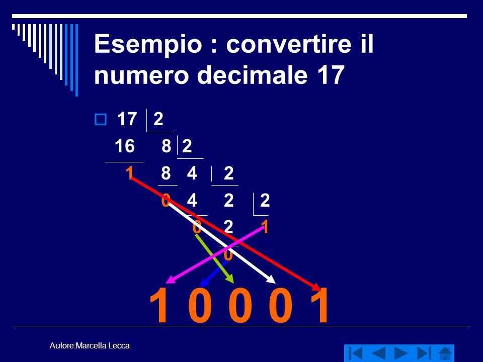 Autore:Marcella Lecca Esempio : convertire il numero decimale 17 17 2 16 8 2 1 8 4 2 0 4 2 2 0 2 1 0 1 0 0 0 1