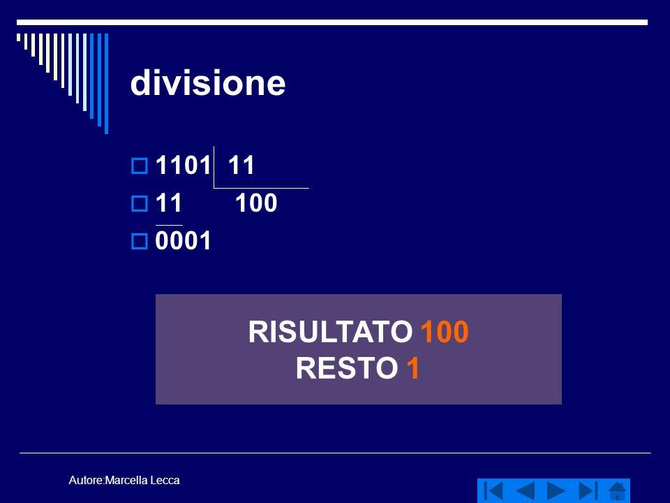 Autore:Marcella Lecca divisione 1101 11 11 100 0001 RISULTATO 100 RESTO 1