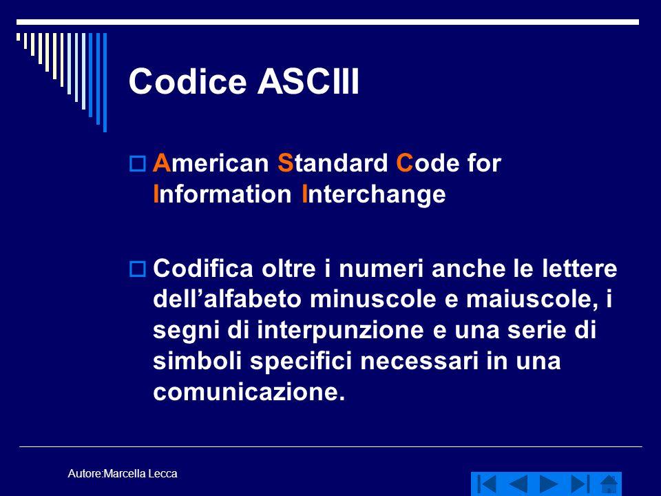 Autore:Marcella Lecca Codice ASCIII American Standard Code for Information Interchange Codifica oltre i numeri anche le lettere dellalfabeto minuscole