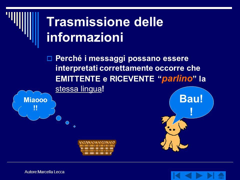 Autore:Marcella Lecca Trasmissione delle informazioni Perché i messaggi possano essere interpretati correttamente occorre che EMITTENTE e RICEVENTE pa