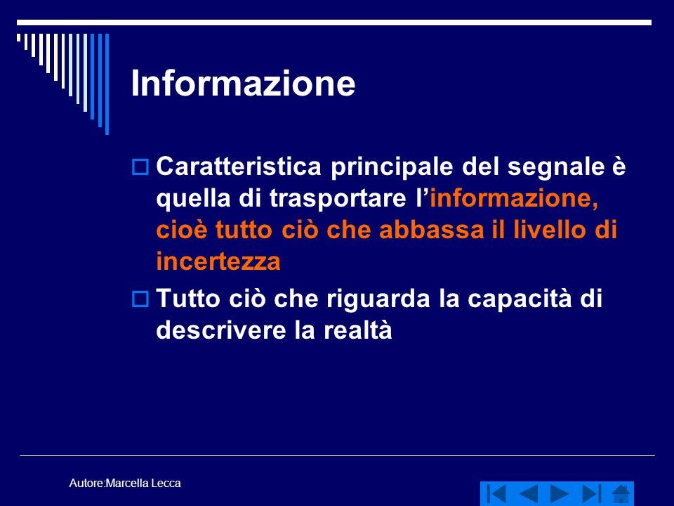 Autore:Marcella Lecca Informazione Caratteristica principale del segnale è quella di trasportare linformazione, cioè tutto ciò che abbassa il livello