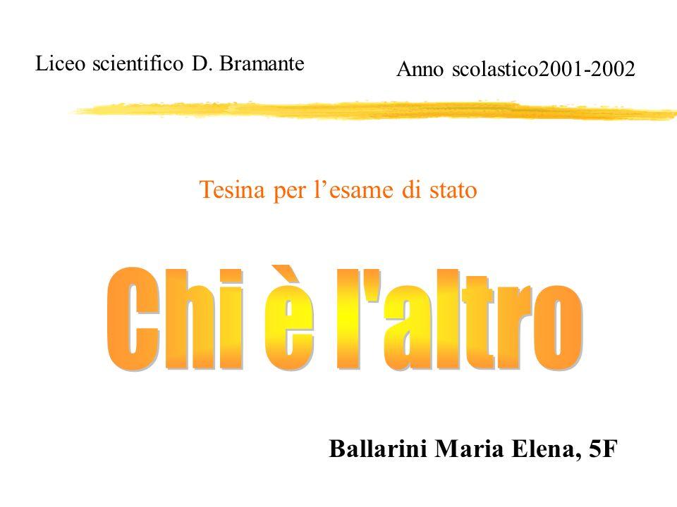 Liceo scientifico D. Bramante Ballarini Maria Elena, 5F Tesina per lesame di stato Anno scolastico2001-2002