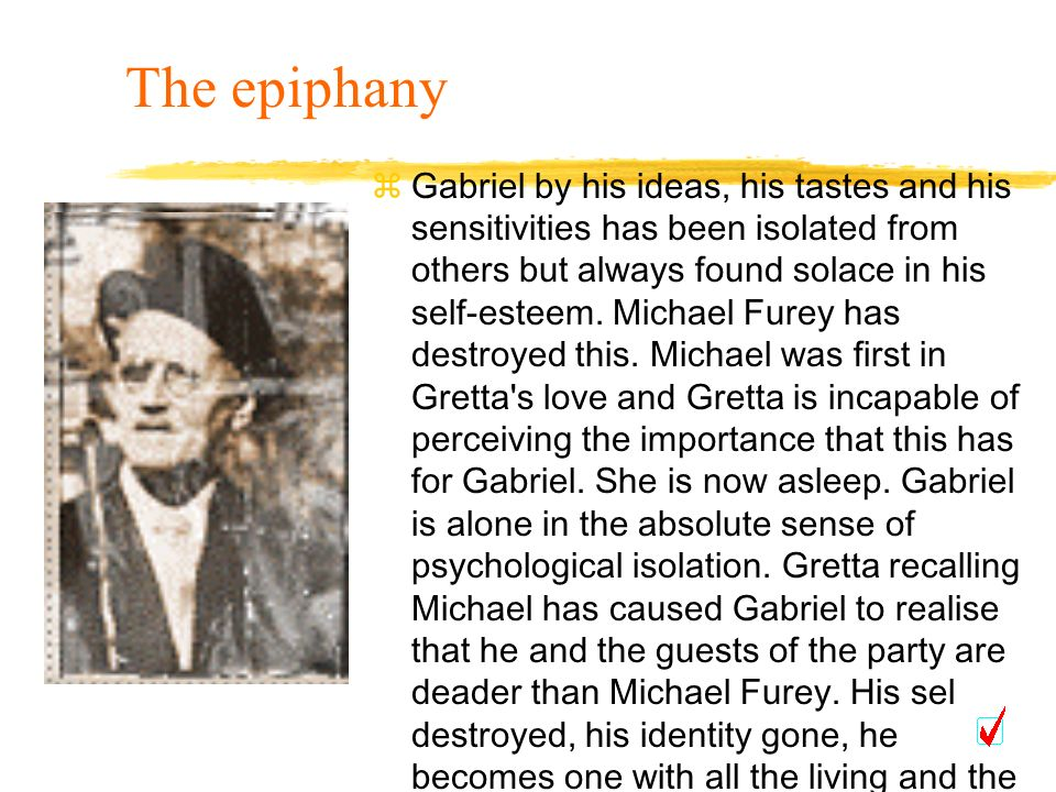 Gabriel by his ideas, his tastes and his sensitivities has been isolated from others but always found solace in his self-esteem. Michael Furey has des