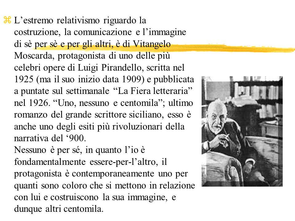 z Lestremo relativismo riguardo la costruzione, la comunicazione e limmagine di sè per sè e per gli altri, è di Vitangelo Moscarda, protagonista di un