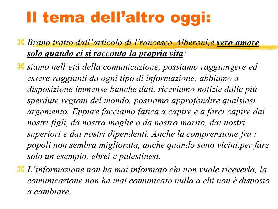 Il tema dellaltro oggi: zBrano tratto dallarticolo di Francesco Alberoni,è vero amore solo quando ci si racconta la propria vita: zsiamo nelletà della