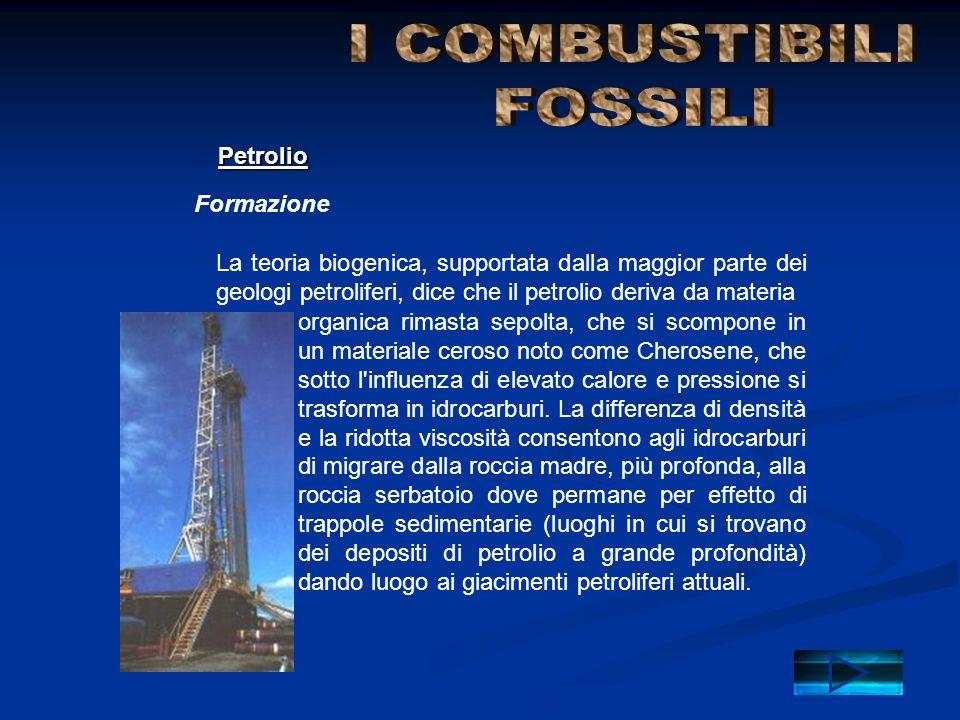 Composizione Petrolio Il petrolio deriva da depositi di carbonio ed idrogeno esposti ad elevate pressioni e ad elevato calore.