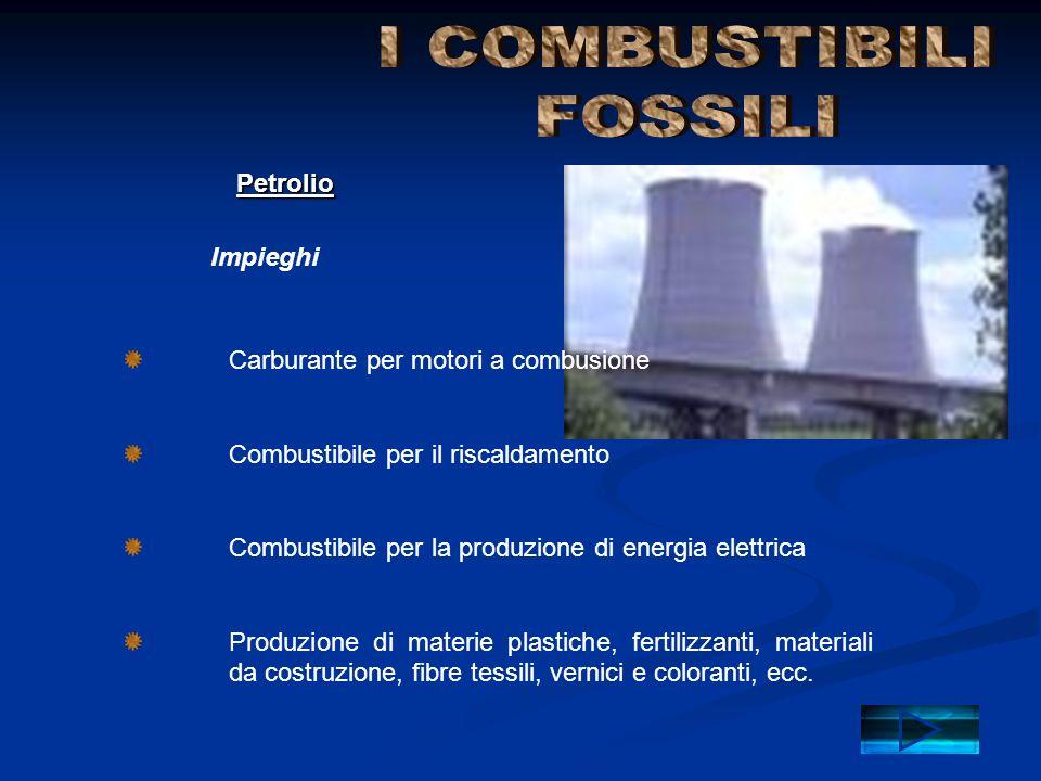 Impieghi Petrolio Carburante per motori a combusione Combustibile per il riscaldamento Combustibile per la produzione di energia elettrica Produzione
