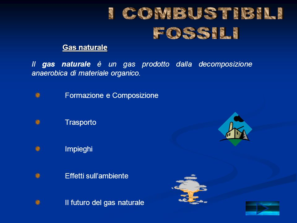 Gas naturale Il gas naturale è un gas prodotto dalla decomposizione anaerobica di materiale organico. Formazione e Composizione Trasporto Impieghi Eff