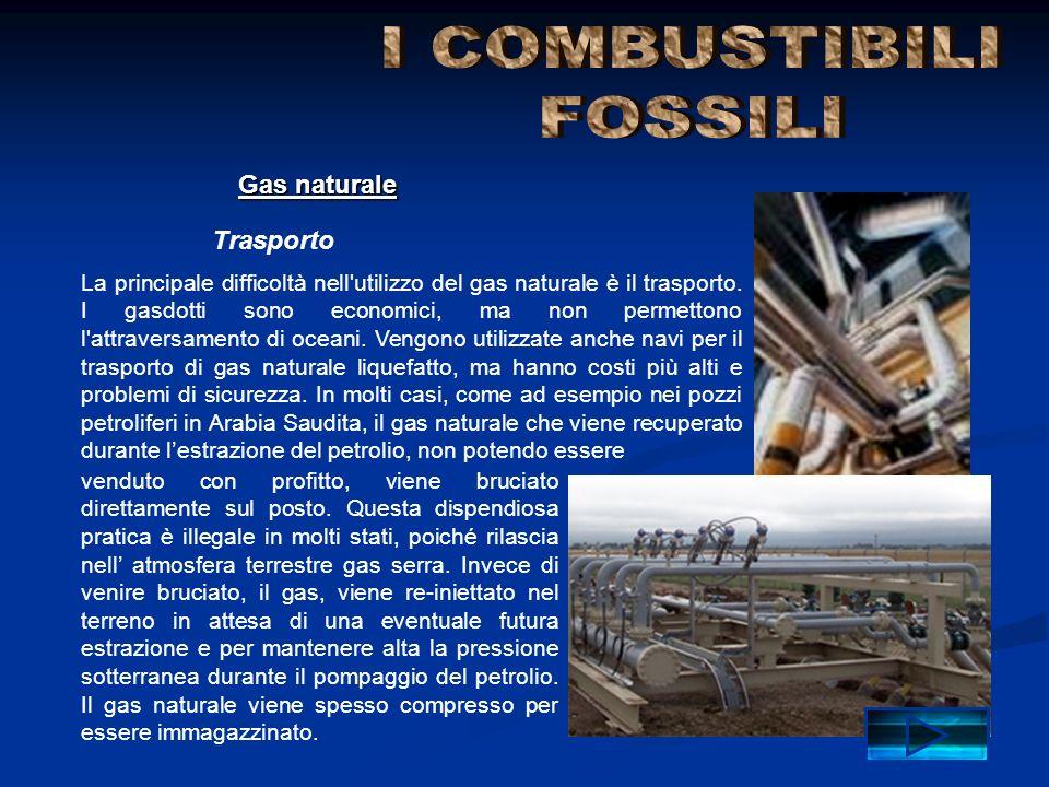 Trasporto Gas naturale La principale difficoltà nell'utilizzo del gas naturale è il trasporto. I gasdotti sono economici, ma non permettono l'attraver