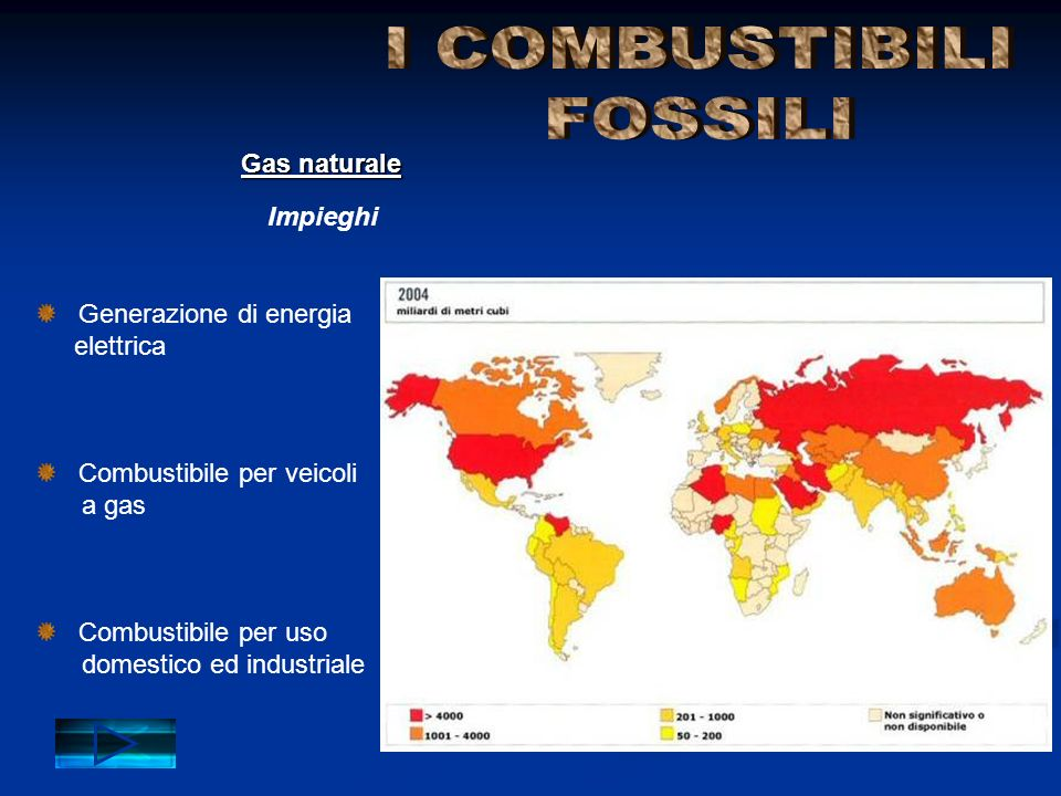 Generazione di energia elettrica Combustibile per veicoli a gas Combustibile per uso domestico ed industriale Impieghi Gas naturale