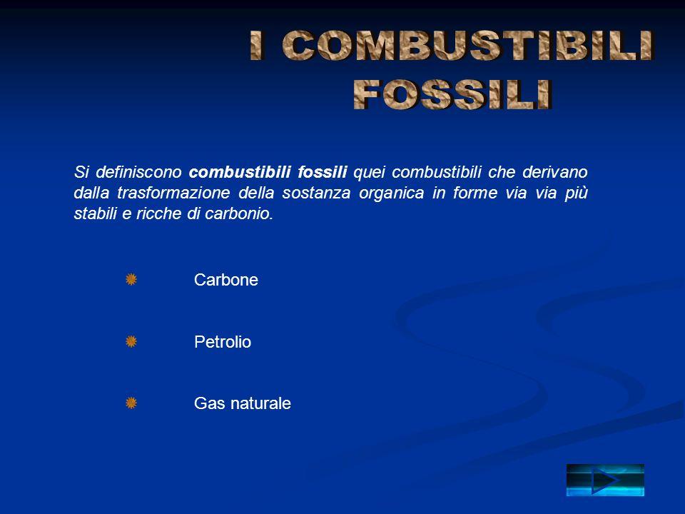 Si definiscono combustibili fossili quei combustibili che derivano dalla trasformazione della sostanza organica in forme via via più stabili e ricche