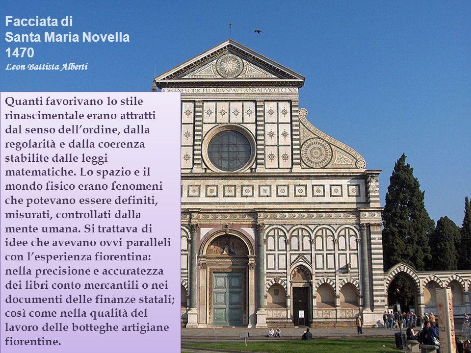 Facciata di Santa Maria Novella 1470 Leon Battista Alberti Quanti favorivano lo stile rinascimentale erano attratti dal senso dellordine, dalla regola