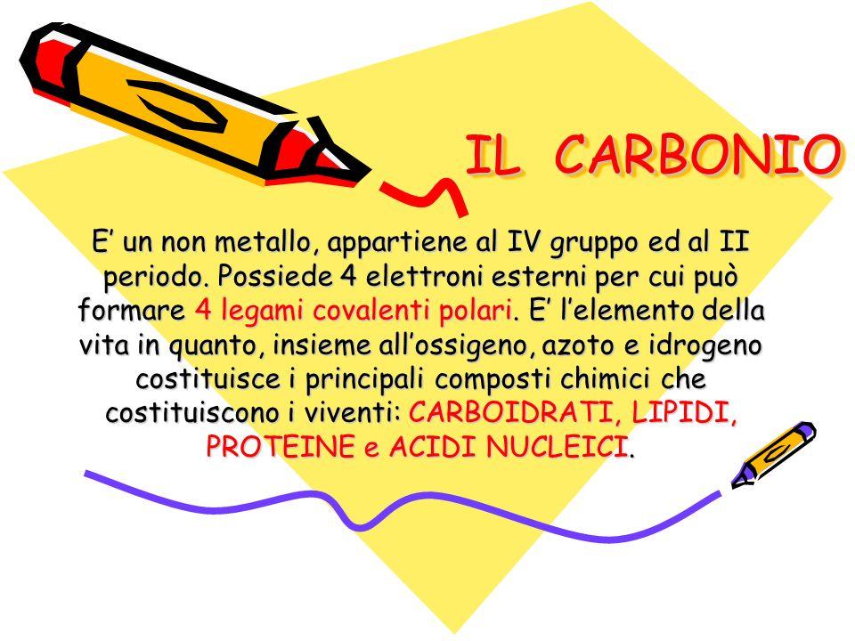 IL CARBONIO IL CARBONIO E un non metallo, appartiene al IV gruppo ed al II periodo. Possiede 4 elettroni esterni per cui può formare 4 legami covalent