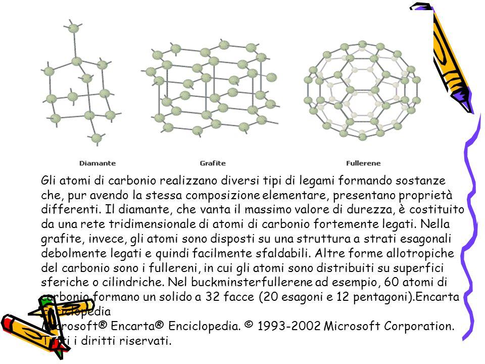 Gli atomi di carbonio realizzano diversi tipi di legami formando sostanze che, pur avendo la stessa composizione elementare, presentano proprietà diff