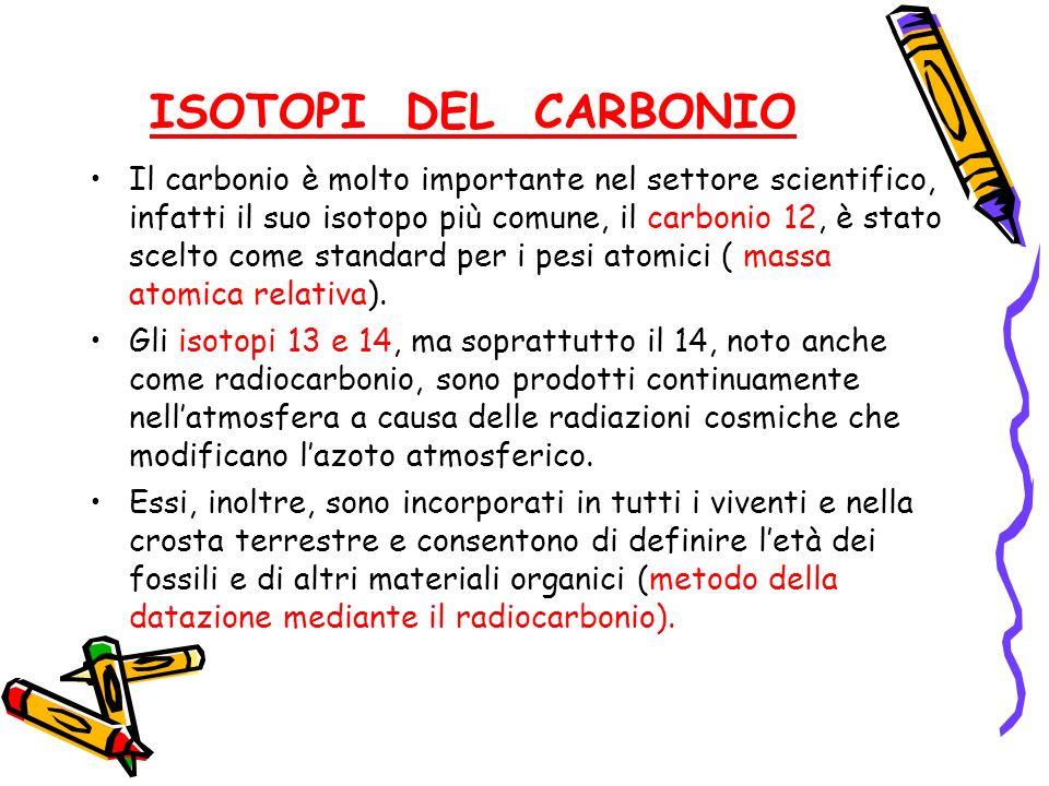 ISOTOPI DEL CARBONIO Il carbonio è molto importante nel settore scientifico, infatti il suo isotopo più comune, il carbonio 12, è stato scelto come st