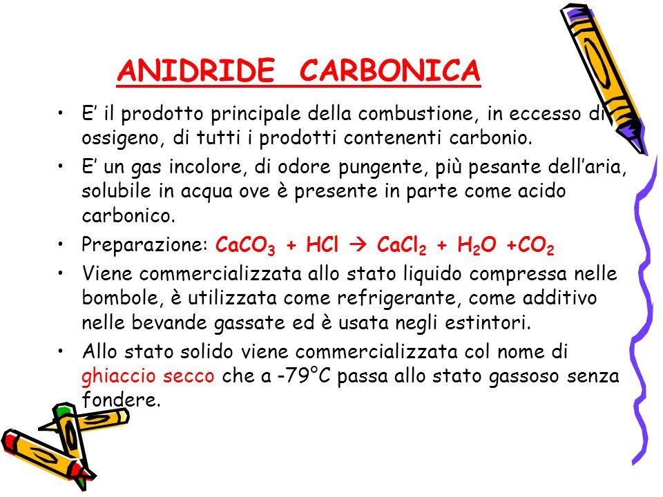 ANIDRIDE CARBONICA E il prodotto principale della combustione, in eccesso di ossigeno, di tutti i prodotti contenenti carbonio. E un gas incolore, di