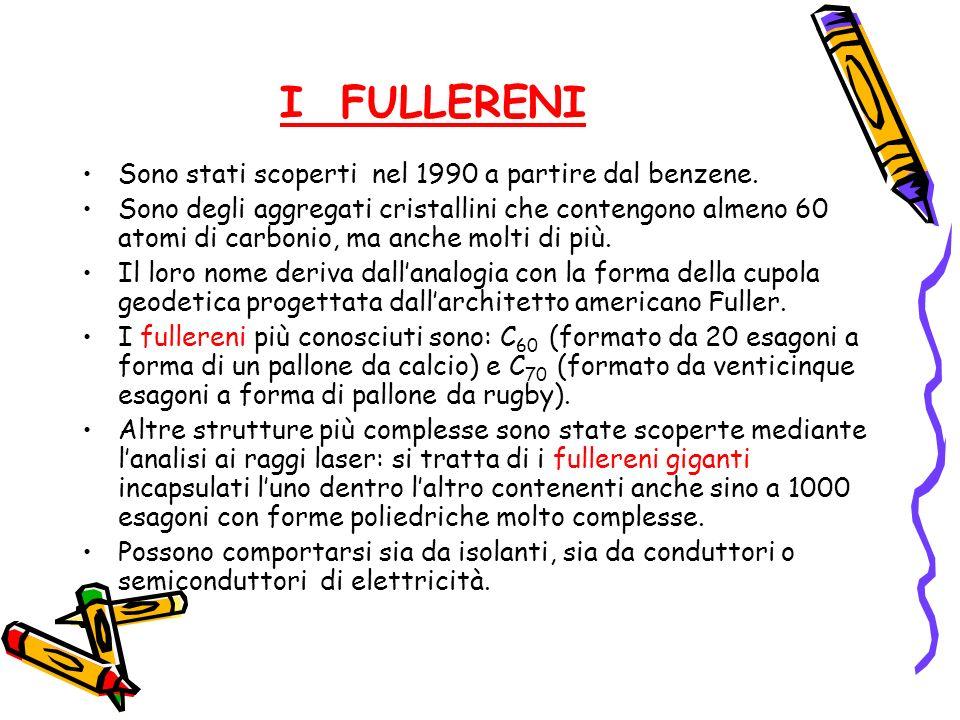 I FULLERENI Sono stati scoperti nel 1990 a partire dal benzene. Sono degli aggregati cristallini che contengono almeno 60 atomi di carbonio, ma anche