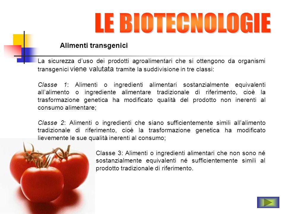 Alimenti transgenici La sicurezza duso dei prodotti agroalimentari che si ottengono da organismi transgenici viene valutata tramite la suddivisione in
