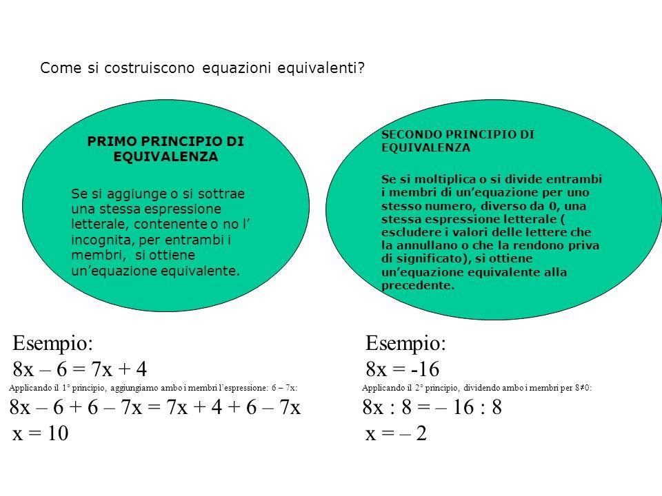 A = B A + k = B + k 1° principio A = B A p = B p 2° principio Le equazioni possono essere paragonate ad una bilancia. Il contenuto del piatto di sinis
