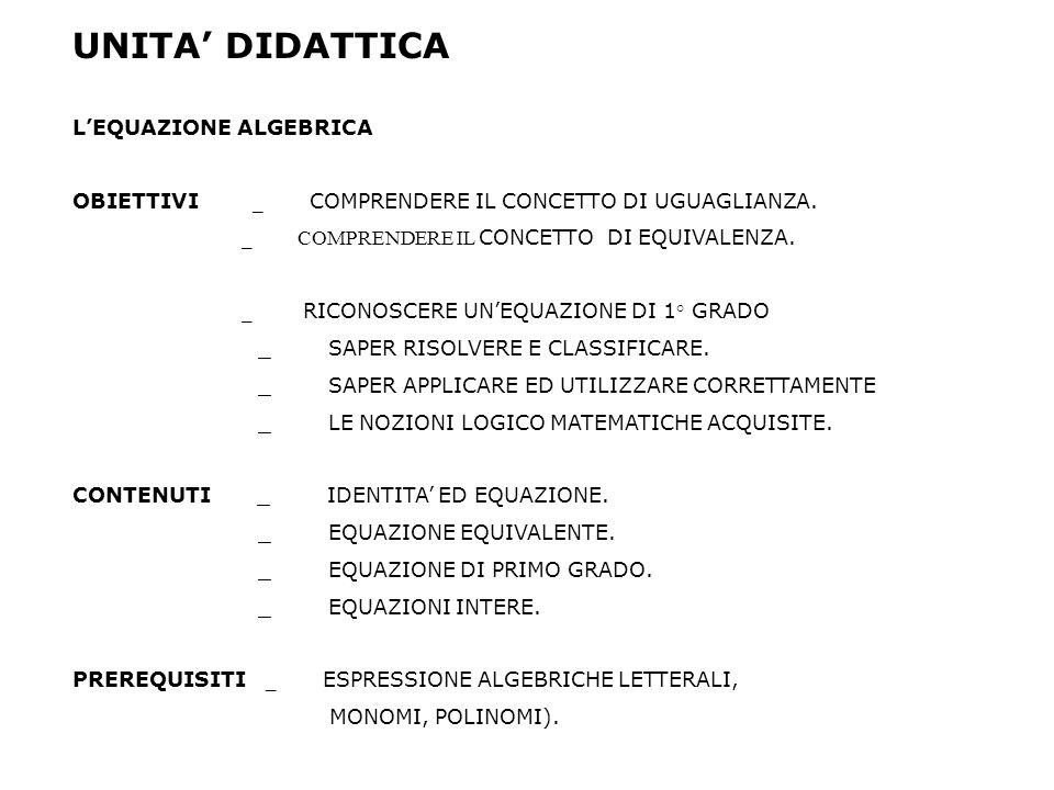 UNITA DIDATTICA LEQUAZIONE ALGEBRICA OBIETTIVI _ COMPRENDERE IL CONCETTO DI UGUAGLIANZA.