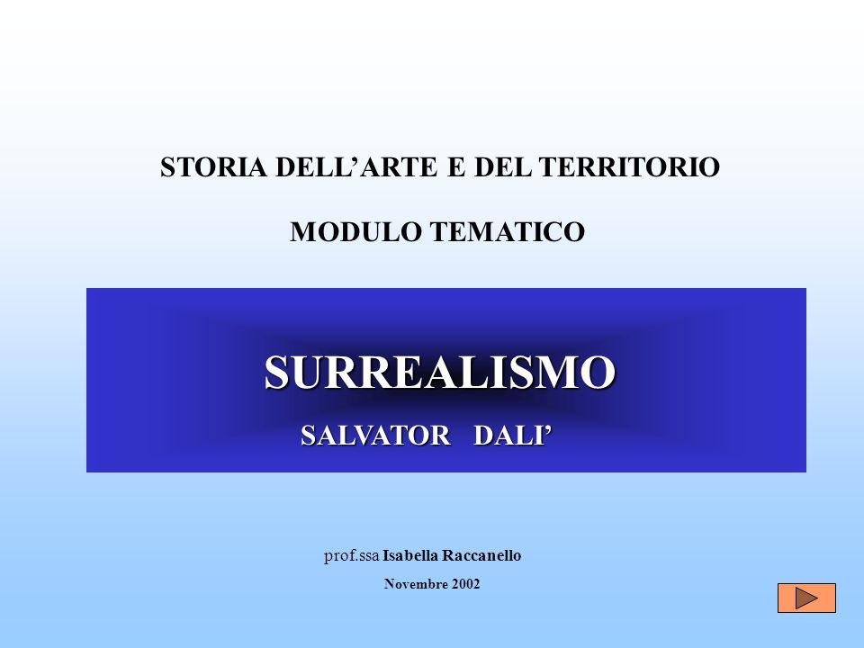 SURREALISMO SURREALISMO SALVATOR DALI SALVATOR DALI MODULO TEMATICO prof.ssa Isabella Raccanello Novembre 2002 STORIA DELLARTE E DEL TERRITORIO