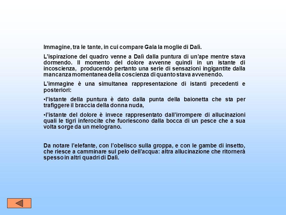 Immagine, tra le tante, in cui compare Gala la moglie di Dalì. Lispirazione del quadro venne a Dalì dalla puntura di unape mentre stava dormendo. Il m