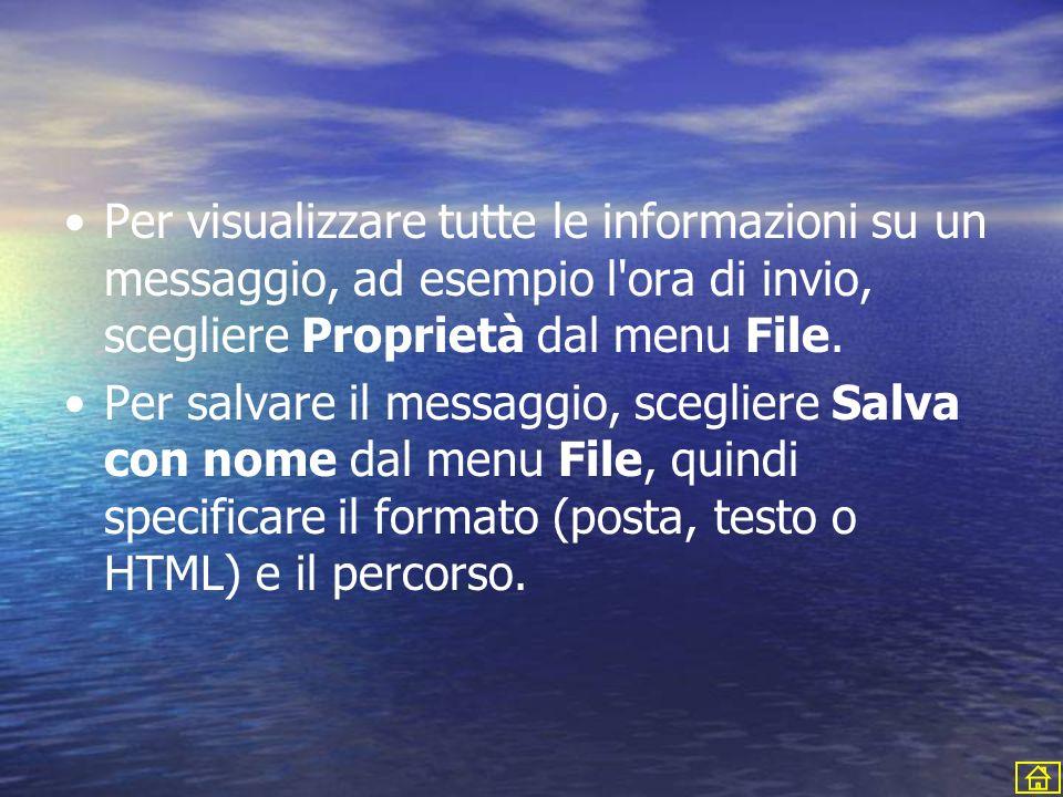 Per visualizzare tutte le informazioni su un messaggio, ad esempio l'ora di invio, scegliere Proprietà dal menu File. Per salvare il messaggio, scegli