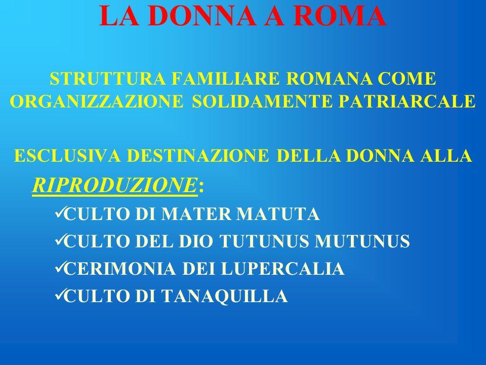 LA DONNA A ROMA MATRILOCALITA MATRILINEARITA MATRIARCATO
