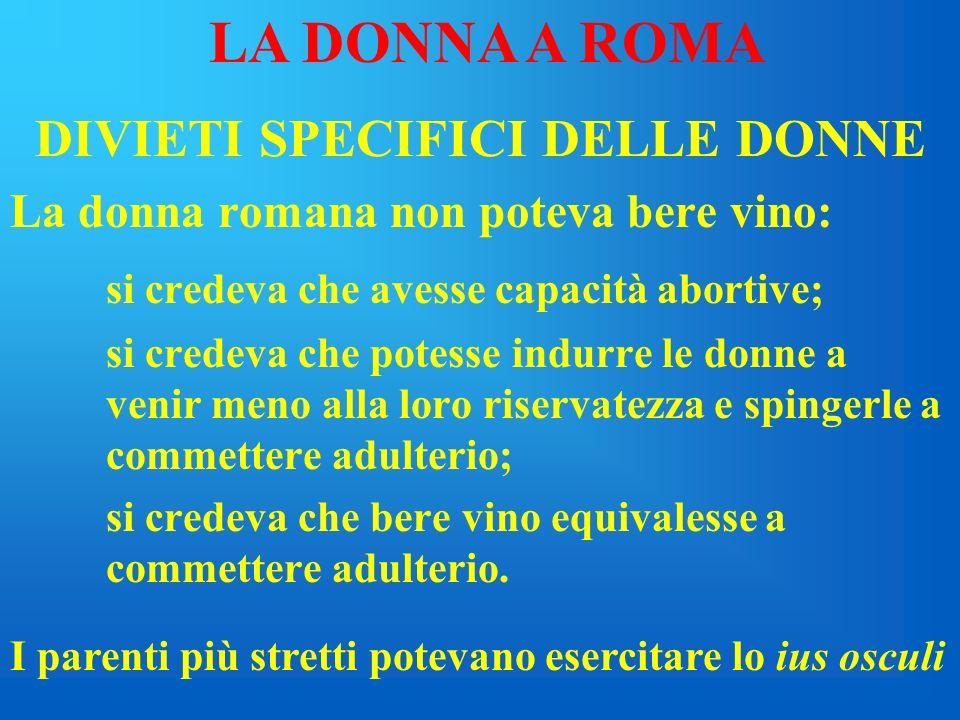 ISTITUTI MATRIMONIALI confarreatio coemptio usus LA DONNA A ROMA