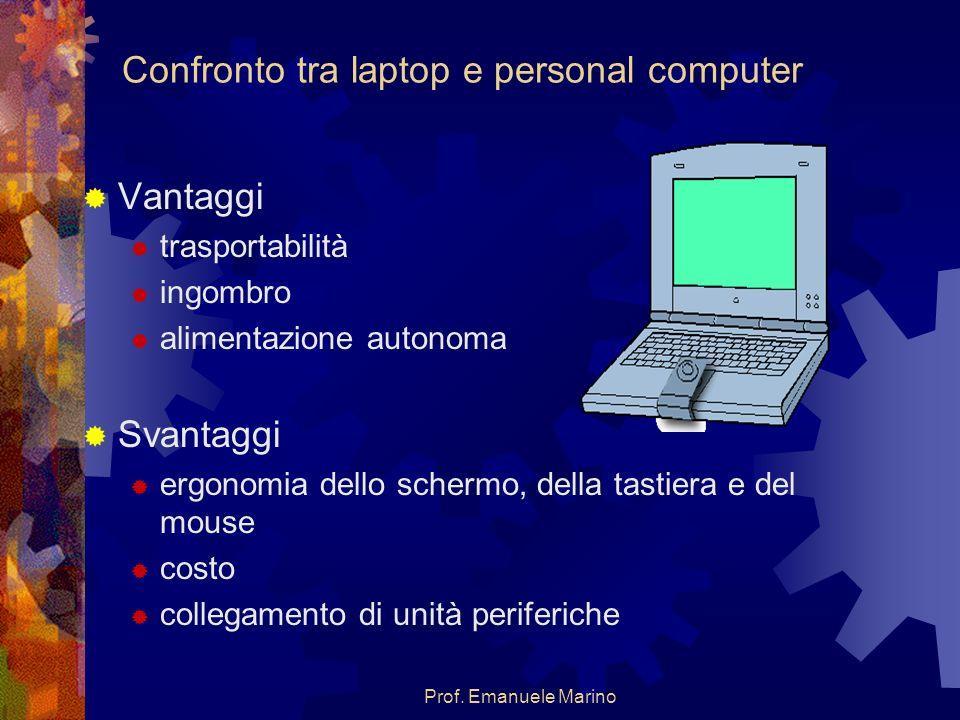 Prof. Emanuele Marino Confronto tra laptop e personal computer Vantaggi trasportabilità ingombro alimentazione autonoma Svantaggi ergonomia dello sche