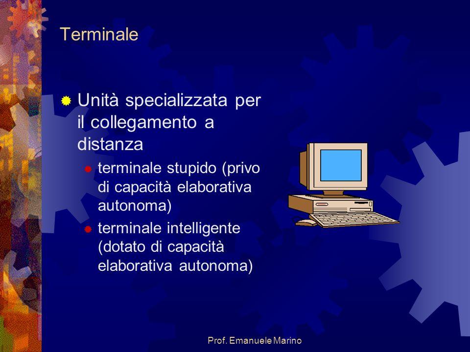 Prof. Emanuele Marino Terminale Unità specializzata per il collegamento a distanza terminale stupido (privo di capacità elaborativa autonoma) terminal