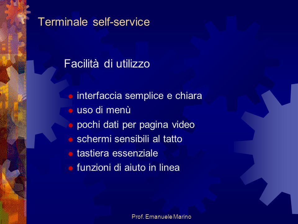 Prof. Emanuele Marino Terminale self-service Facilità di utilizzo interfaccia semplice e chiara uso di menù pochi dati per pagina video schermi sensib