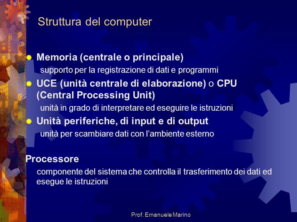 Prof. Emanuele Marino Struttura del computer Memoria (centrale o principale) supporto per la registrazione di dati e programmi UCE (unità centrale di