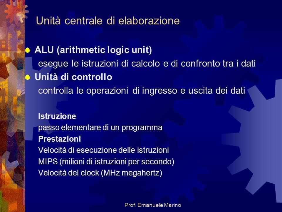 Prof. Emanuele Marino Unità centrale di elaborazione ALU (arithmetic logic unit) esegue le istruzioni di calcolo e di confronto tra i dati Unità di co