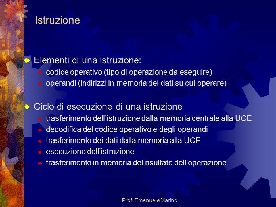 Prof. Emanuele Marino Istruzione Elementi di una istruzione: codice operativo (tipo di operazione da eseguire) operandi (indirizzi in memoria dei dati