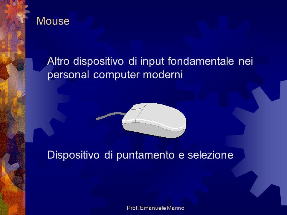 Prof. Emanuele Marino Mouse Altro dispositivo di input fondamentale nei personal computer moderni Dispositivo di puntamento e selezione
