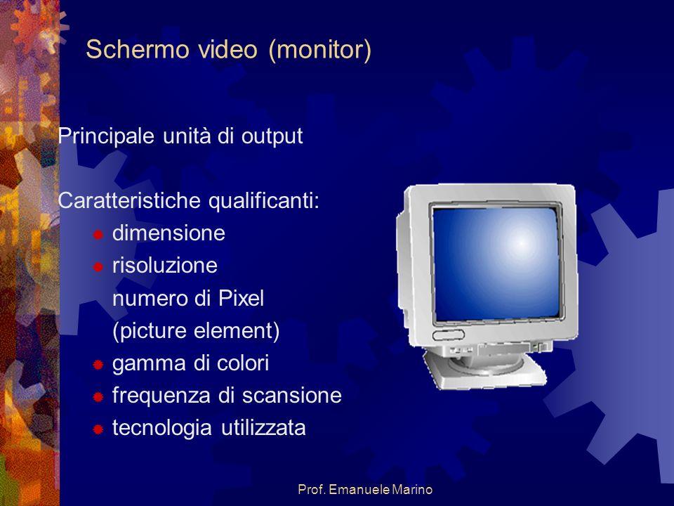Prof. Emanuele Marino Schermo video (monitor) Principale unità di output Caratteristiche qualificanti: dimensione risoluzione numero di Pixel (picture