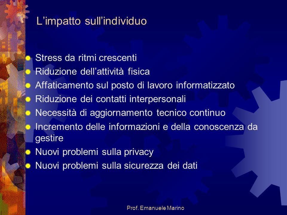 Prof. Emanuele Marino Limpatto sullindividuo Stress da ritmi crescenti Riduzione dellattività fisica Affaticamento sul posto di lavoro informatizzato
