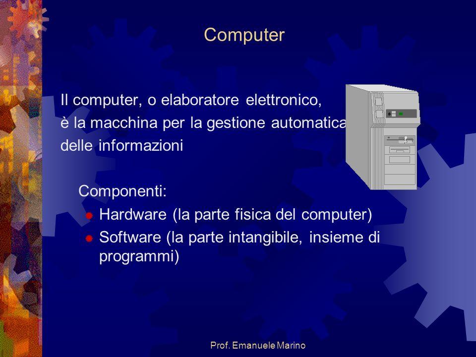 Prof. Emanuele Marino Computer Il computer, o elaboratore elettronico, è la macchina per la gestione automatica delle informazioni Componenti: Hardwar