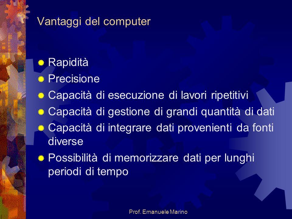 Prof. Emanuele Marino Vantaggi del computer Rapidità Precisione Capacità di esecuzione di lavori ripetitivi Capacità di gestione di grandi quantità di