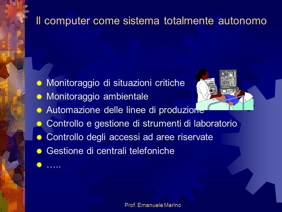 Prof. Emanuele Marino Il computer come sistema totalmente autonomo Monitoraggio di situazioni critiche Monitoraggio ambientale Automazione delle linee