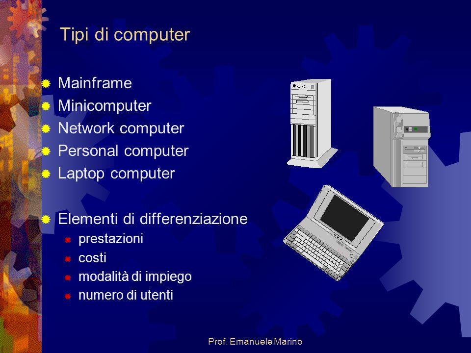 Prof. Emanuele Marino Tipi di computer Mainframe Minicomputer Network computer Personal computer Laptop computer Elementi di differenziazione prestazi